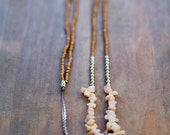 Mixed Media Boho Necklace /  Pink SIlver Brown Necklace /  Gemstone Necklace /  Sun Gemstone Necklace
