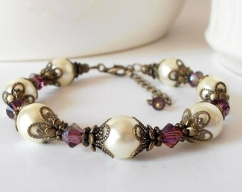Ivory and Plum Wedding, Vintage Style Pearl Bracelet, Gift for Bridesmaid, Beaded Jewelry, Swarovski Crystal, Rustic Wedding Jewelry