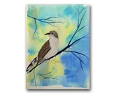 Bird Watercolor Painting 9x12 Contemporary Fine Art Original Cuckoo Wild Bird Modern Realism Spring Colors nature small format art under 100