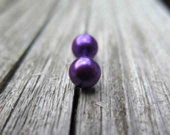 purple earrings. magenta pearl studs. sterling silver jewelry. splurge.