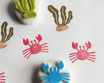summer beach stamp set. crab and seaweed hand carved rubber stamp. birthday christmas scrapbooking. holiday crafts. gift wrapping. set of 2