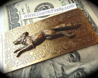 Brass Fox Money Clip Steampunk Money Clip Gothic Victorian Vintage Inspired Antiqued Brass Money Clip Men's Accessories Men's Gifts