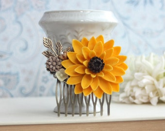 Sun Flower Wedding SunFlower Brown Comb Large Sunflower Rustic Comb Bridesmaid Large Chrysanthemum Flower Fall Woodland Country Barn Wedding