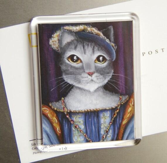 Grey Cat Magnet, King Francois I of France, Cat Fridge Magnet