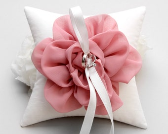 Pink ring pillow, wedding ring pillow, bridal ring pillow, flower ring pillow - Adina