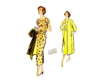 1950s Dress Pattern Vogue Special Design S-4773, One Piece Sheath Dress & Long Coat Vintage Sewing Pattern, Bust 32, Sew In Label, Uncut