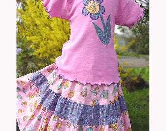 Pink Cat Mid-calf length Girls Tiered Twirl Skirt & Flower Applique Top Waldorf Girl Clothing size 2 3 4 5 6 7 8 10 12 14 Tween Girl Clothes