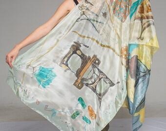 Hand painted silk shawl-Dressmaker atelier. Aqua Gray Oversized scarf. Luxury scarf handpainted Unique handmade scarf Fashionista gift  KA17