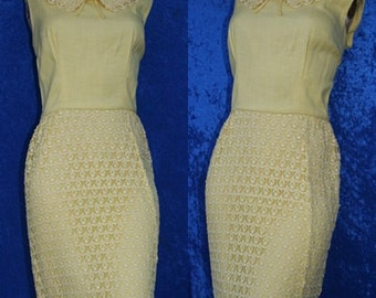 Vintage Maggi Stover Yellow Crochet Lace 60s 1960s Wiggle Mad Men Dress