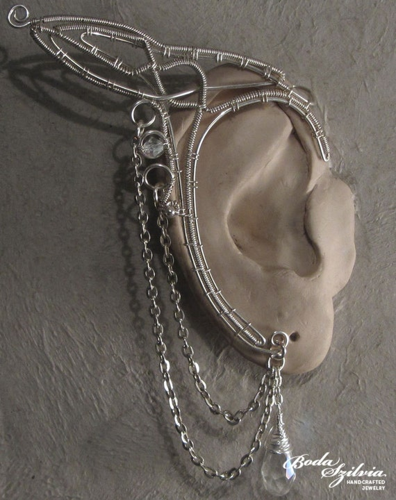 GALADRIEL ELF EARS - ooak silver elven ear wrap - 1 pair