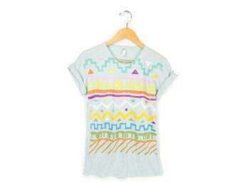 Geo Tribal Stamp - Boyfriend Fit Scoop Neck Tshirt with Rolled Cuffs in Heather Mint Pastel Rainbow - Women's Size S-4XL
