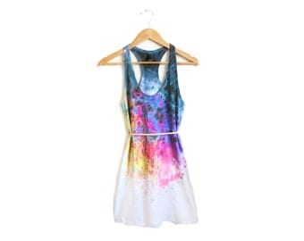 "Spectrum Rainbow Tank Dress - Original ""Splash Dyed"" Hand PAINTED Scoop Neck Racerback Dress in White - Women's SIze XS-4XL"