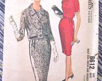 Vintage 60s McCall's 6612 Dress and Jacket  Sewing Pattern Fitted Dress  Misses' Suit Pattern  Bust 39 inches