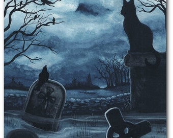 Black Cat Society - Watchful Eye Cemetery Raven - Dark Halloween ArT Prints by BiHrLe bcs58