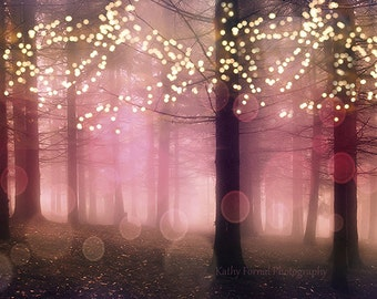 Nature Photography, Fantasy Sparkling Lights Woodlands, Winter Holiday Fairy Lights, Dreamy Fairytale Nature Print, Baby Girl Nursery Decor