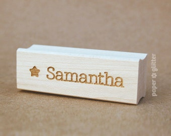 Personalized Name Rubber Stamp with Star