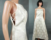 Vintage Prom Dress 11/12 M L Long Silvery White Gold Satin Brocade Wedding Gown Free US Shipping