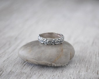 Silver Flower Band - Sterling Silver Band - Floral Pattern Band - Handforged Silver Ring - Silver Ring - Wedding Band