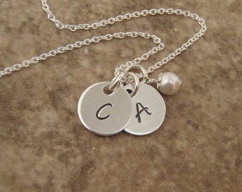 Dainty Silver Initial necklace - 2 initials, 3 initials, 4 initials  - Sterling Silver Initial Disc Tag jewelry - Photo NOT actual size