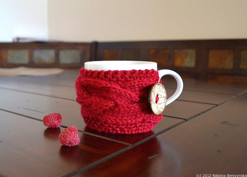 Knitting PATTERN Cup Cozy Pattern Knit Coffee Cozy Pattern