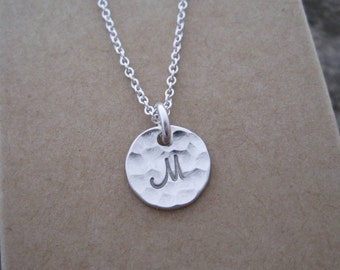 """Tiny 3/8"""" Sterling Silver Initial Charm Necklace- includes charm, chain, gift box; simple, everyday necklace"""