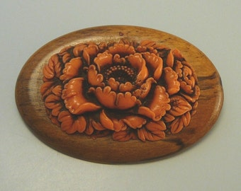 Vintage Coral Celluloid Flower Pin Large