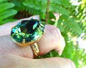 Swarovski Erinite Crystal Cocktail Ring Sage Blue Green Summer Ocean Beach Color