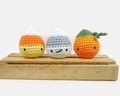 Halloween Ornaments Set of 3, Candy Corn, Ghost, Pumpkin Crochet Amigurumi Stuffed Toy, Cute Fall Halloween Decor, Party Decorations