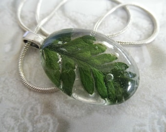Lush Green Feather Fern Small Glass Oval Pendant-Nature's Wearable Art-Rustic, Earthy, Woodsy-Symbolizes Perseverance-Gifts Under 30