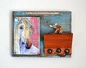 Functional Recycled Art Book Cover Shelf Horse Print White Horse Art Vintage Materials