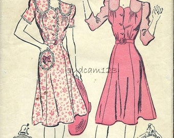Vintage 1940s Shirtwaist Dress Shaped Shoulder Yokes Flared Skirt Round Pocket 1942 Advance 2752 Bust 32