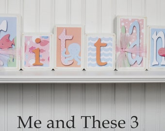 Wood letter name blocks - Price is per block - Custom to your style -Under the sea pink blue light orange ocean