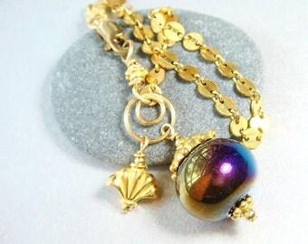 Mystic Topaz Jewelry, Gold Bracelet, Mystic Treated Smokey Topaz,  Large Bead Bracelet, Smoky Topaz, Discounted WAS 65.00