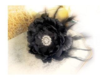Black Flower Pin / Clip / Comb. Vintage Millinery Style. Bridal Bride Drama, Feminine Romantic Romance Unique Timeless. Ebony Feathers Clip