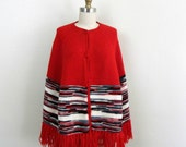 1970s Poncho with Fringe and Space Dyed Stripe.... Vintage 70s  Knit Cape  ... Red Knit
