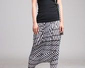 ArtAffect Harem Pants- Black and White Graphic