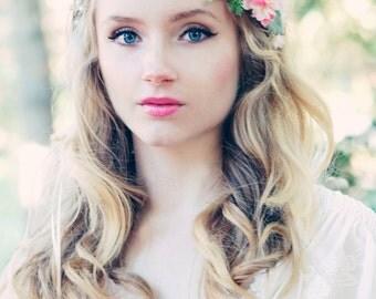 pink rose floral crown, bridal flower hair crown, woodland wedding, pale pink flower, milinery flower