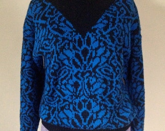 Vintage 1980s Damask Motif Sweater - Small