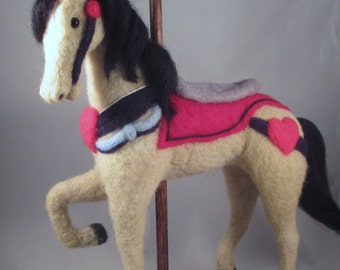 Felted Animals, Needle Felt, Felt Animals, Carousel Horse, Animals, OOAK, Collectible, Needle Felted Horse, Handmade, Gift for Her, Horse