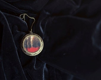 Woodland Art Locket- Large Locket- Red & Black Gothic Art Locket,  Locket for Women