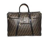 FENDI Vintage Suitcase Zucca Coated Canvas Black Leather Large Duffle - AUTHENTIC -