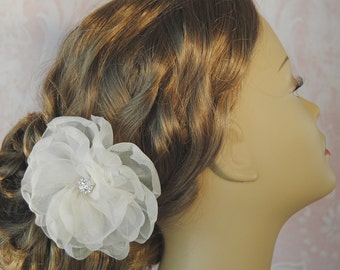 Pale Ivory Silk Organza Hair Flower, Bridal Fascinator with Crystals, Blush, White, Off White, Champagne, Custom Color - AVONLEA