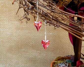 Swarovski crystal heart earrings, Heart earrings, crystal earrings