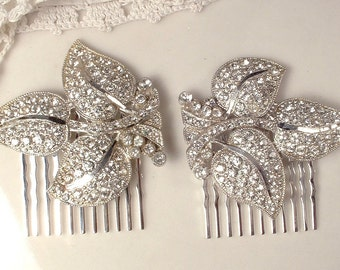 Original Art Deco Rhinestone Bridal Hair Comb, 1920s Heirloom Crystal Silver Leaf Dress Clip to Hairpiece Vintage GATSBY Wedding