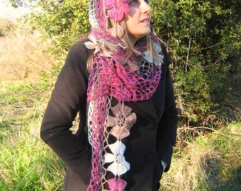 Pink Brown Shawl - Shiny Pink White Purple Brown Flower Triangle Shawl - Gift for Her - Ready to Ship