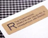 Custom print UPPERCASE INITIAL Return Address Labels - classic Brown Kraft address stickers
