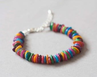 Bright multi-coloured mother of pearl bracelet