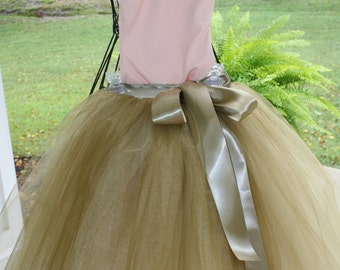 antique gold flower girl tutu,  flower girl dress, tulle flower girl dress