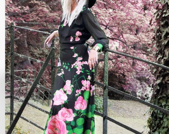Midnight Rose, Vintage, Floral Print Maxi Dress with Long Sleeves, from Paris