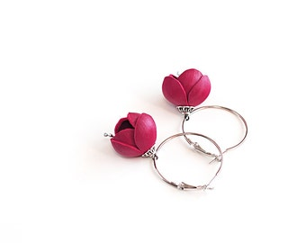 SALE 10% OFF Handmade leather earrings with Dark pink flowers. Leather jewelry, bridesmaid earrings, pink earrings, flower girl earrings,